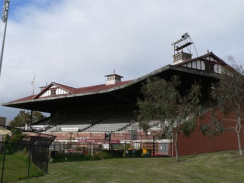 Lakeside Oval grandstand - the main grandstand on South Melbourne's home footy ground.