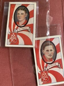 Allens collectible cards of R. Hillis and W. Faul(l) - South Melbourne players from the 1930's